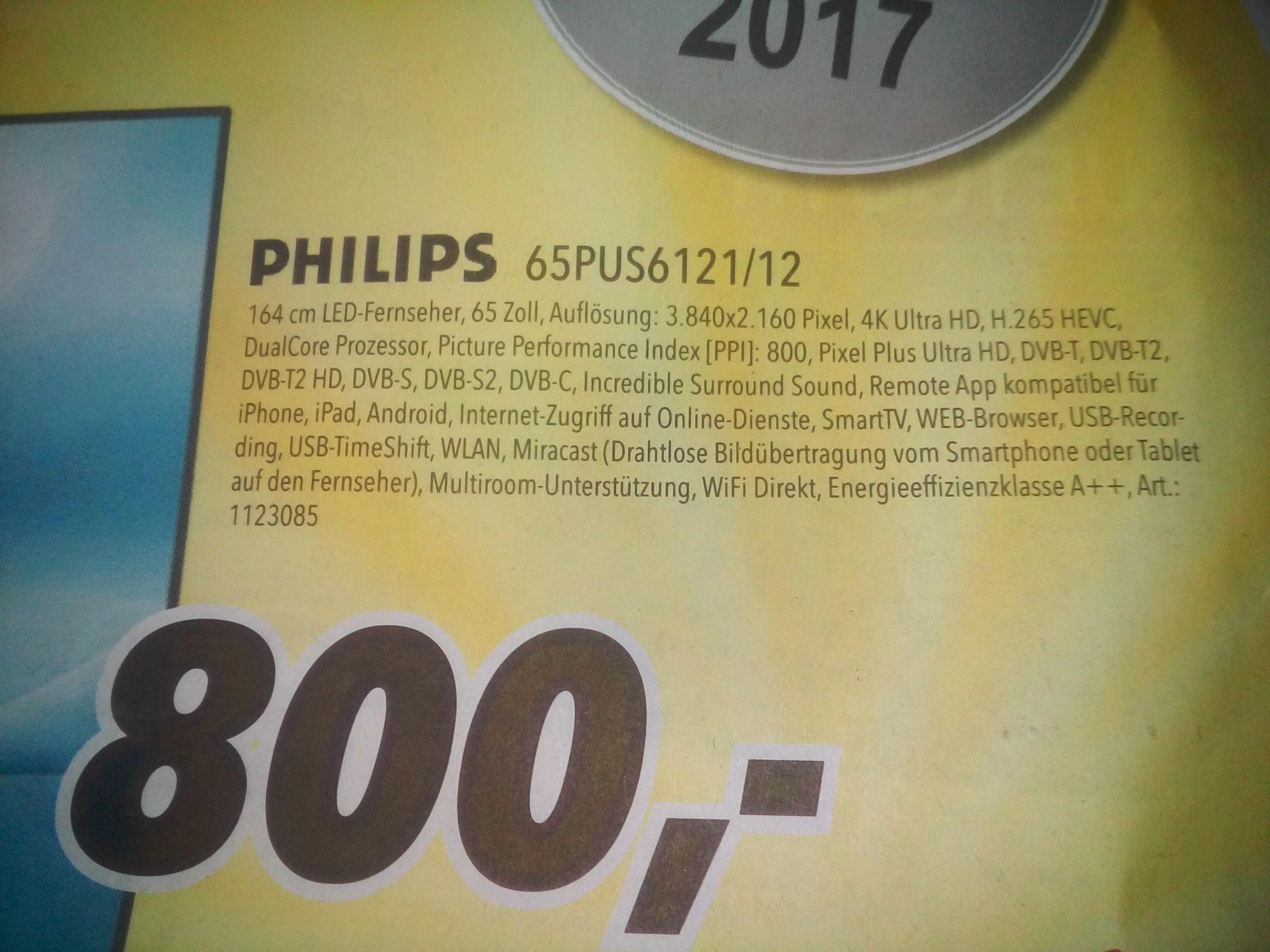 (Lokal)Medimax Fürstenau,Meppen--Philips 65PUS6121/12 Led Fernseher für 800€ statt  1079,94€