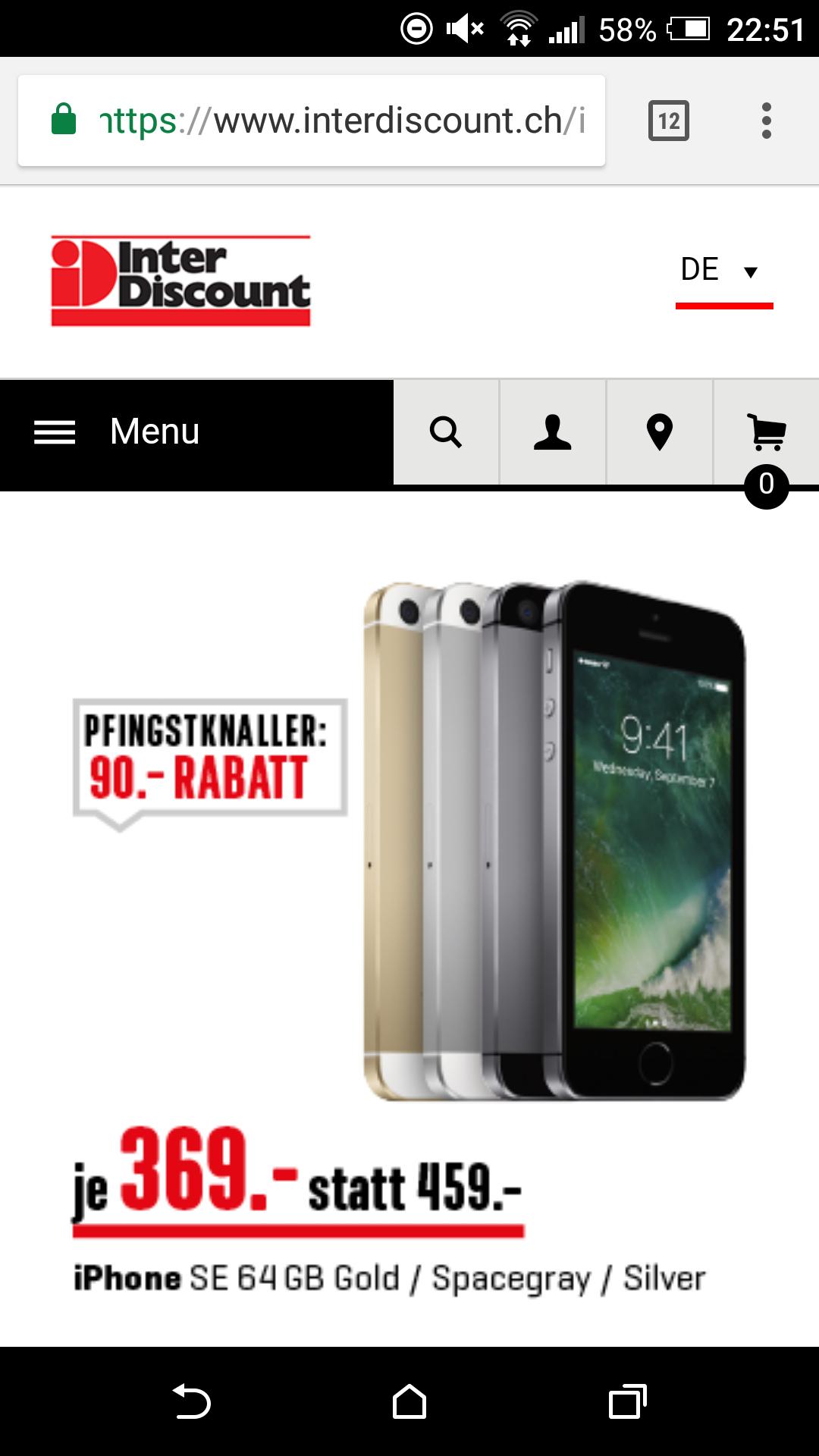 [Lokal Schweiz] Interdiscount IPhone SE 64 GB