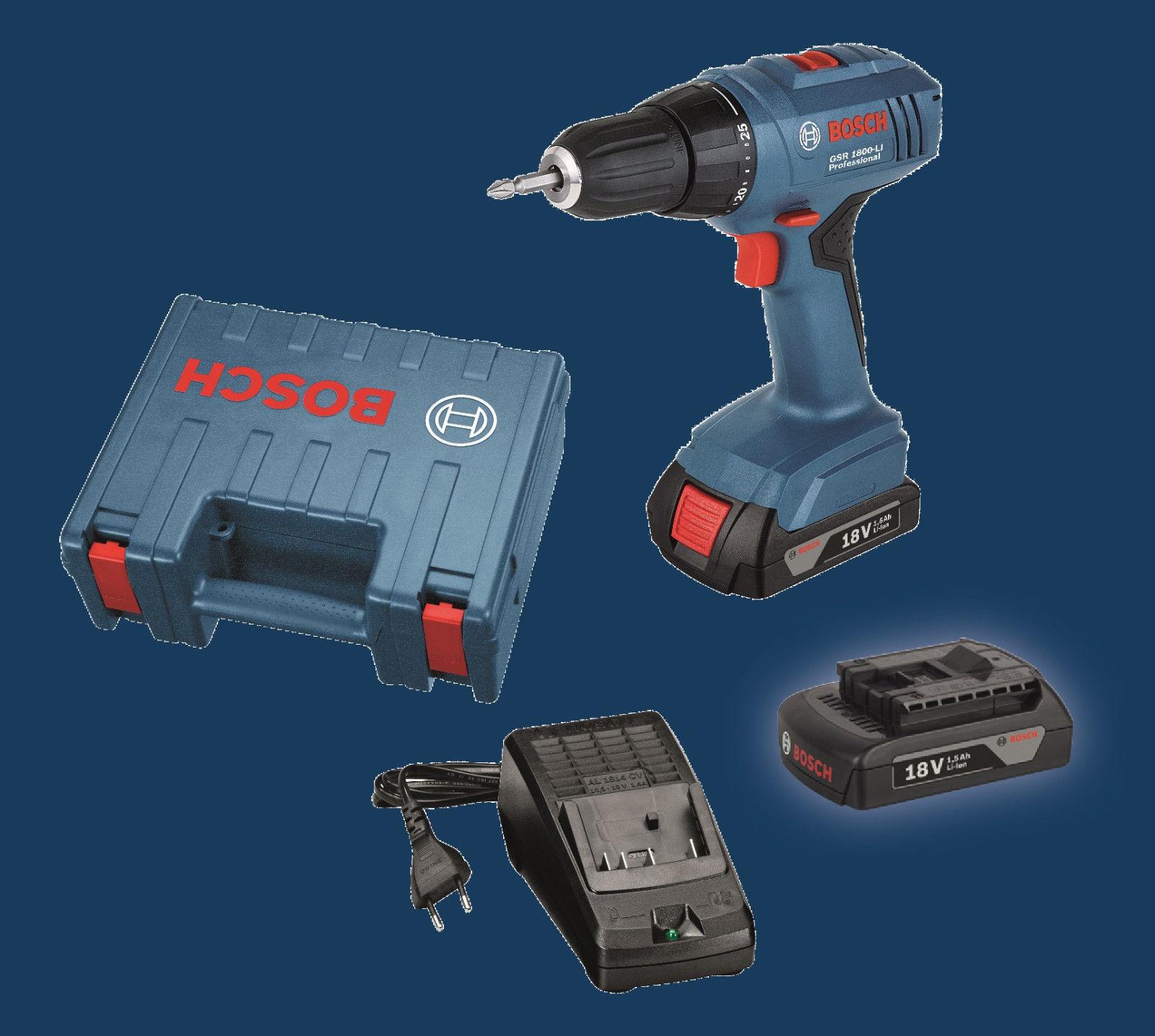 [Ebay] Bosch Akku-Bohrschrauber GSR 1800-LI mit 2 x 1,5 Ah 18 V Akku im Koffer  für 89,99 Euro