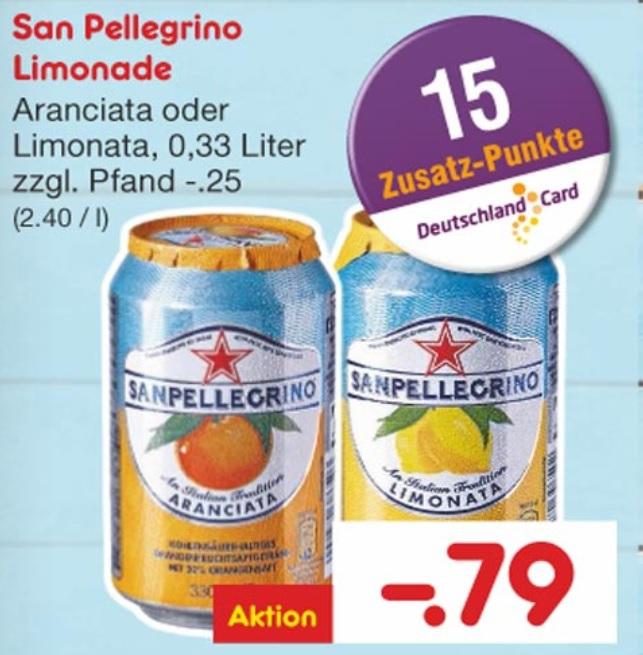 [Netto ohne Hund] San Pellegrino Limonata & Aranciata für 0,79€ + 15 Deutschlandcard Punkte pro Dose (entspricht effektiv 0,64€) 24-er Tray effektiv für 15,36€