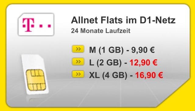 D1 Netz 4 GB Datenvolumen Allnet Flat in alle Netzte 17,52 EUR pro Monat Smartphoneflat.de bzw SH Telekommunikation Deutschland GmbH