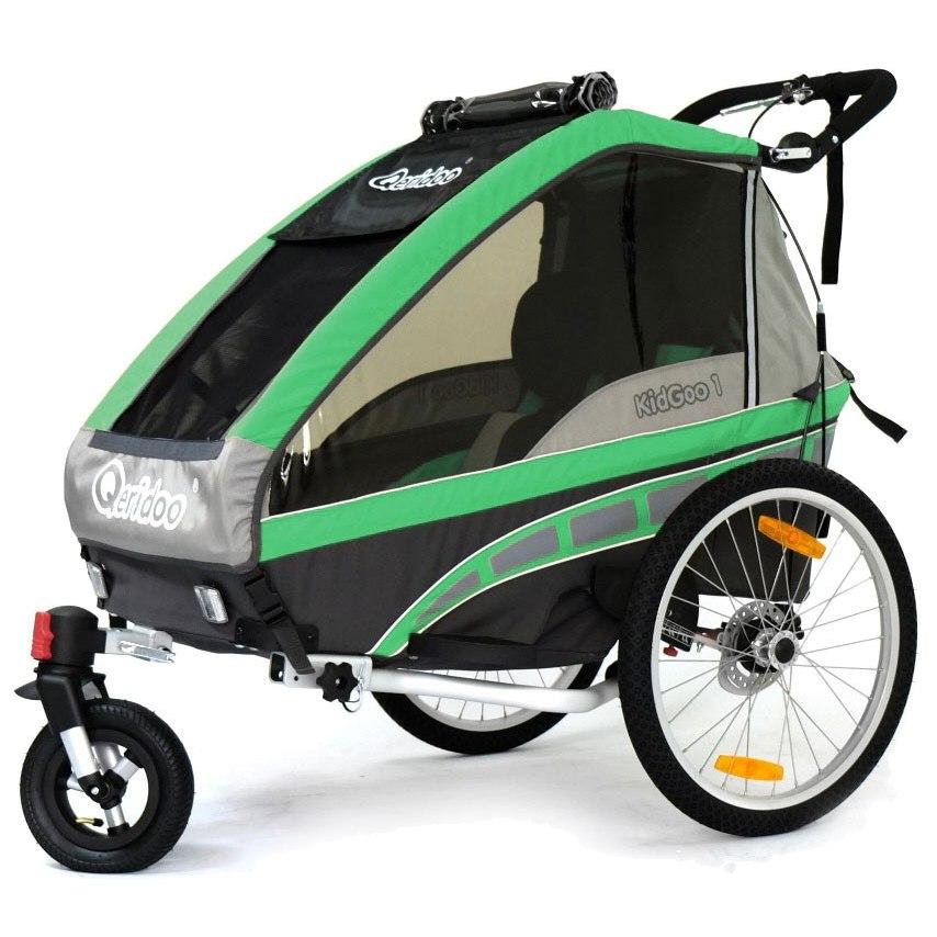 Qeridoo Kinderfahrradanhänger KidGoo 1 Grün oder Rot Mod. 2016 für 275,99€ mit Gutschein bei Babymarkt