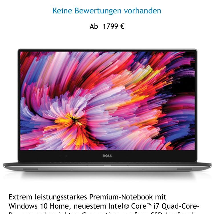 Dell 12% Rabatt Beispiel XPS 15 9560