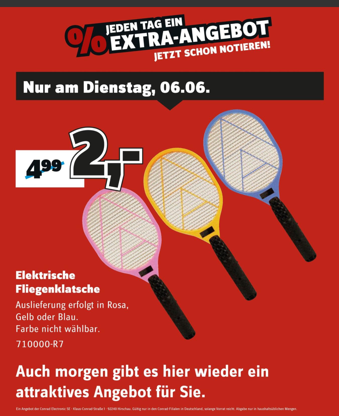 [Conrad] Elektrische Fliegenklatsche für 2€ nur heute am 06.06.
