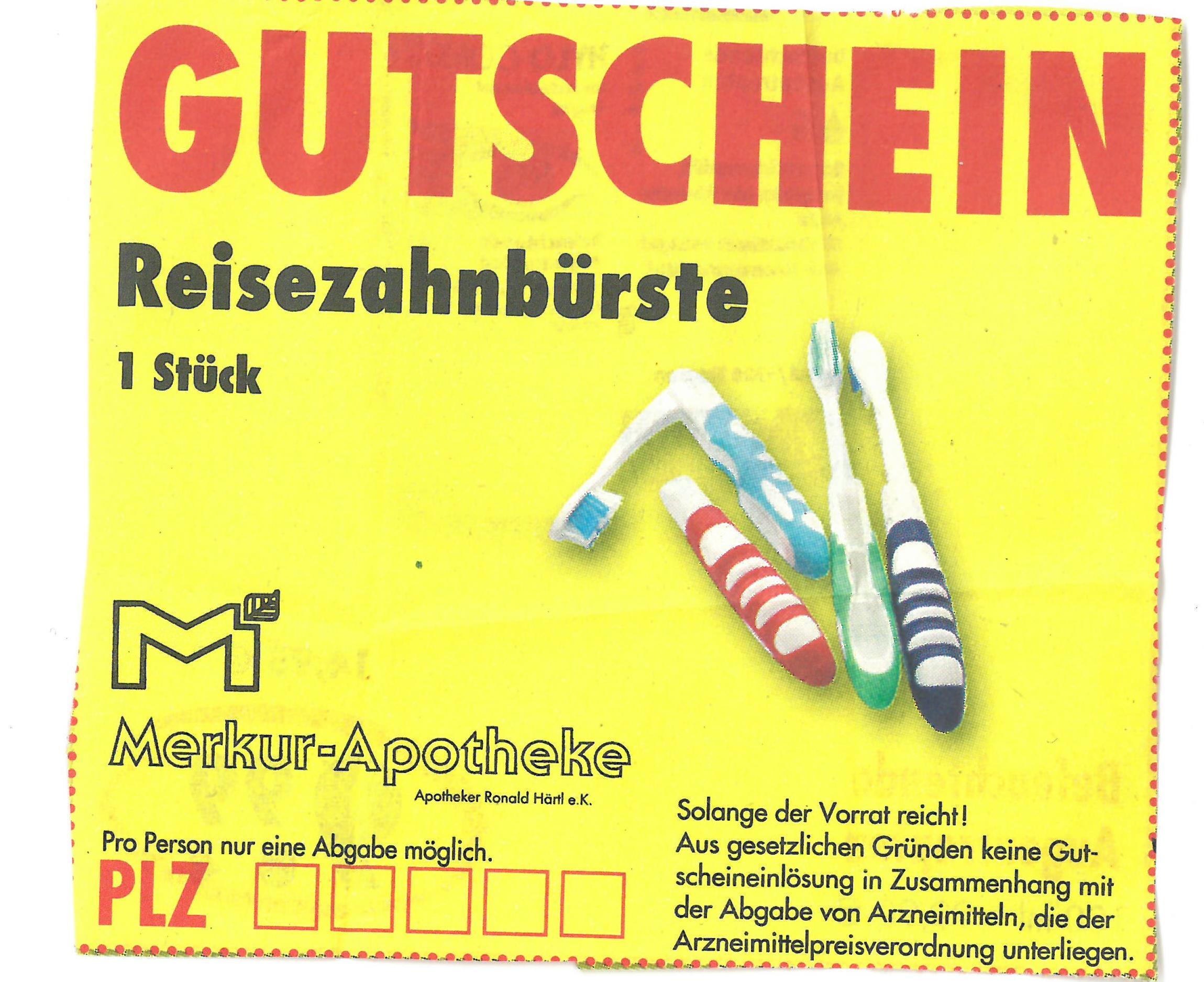 [Lokal Nürnberg] Kostenlose Reisezahnbürste in der Merkur Apotheke (Breitscheidstraße 5)