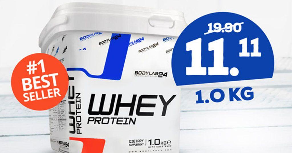 Whey Protein 1 kg für 11,11€ statt 19,90€ bei Bodylab24