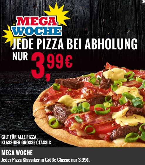 [LOKAL] Domino's Pizza Hamburg, Ulm, Wiesbaden: Mega Woche: Jede Pizza in der Größe Classic nur 3,99 bei Abholung (+ Gratis Softdrink (0,5L) & Gratis Schoko Cookie bei Onlinebestellung)