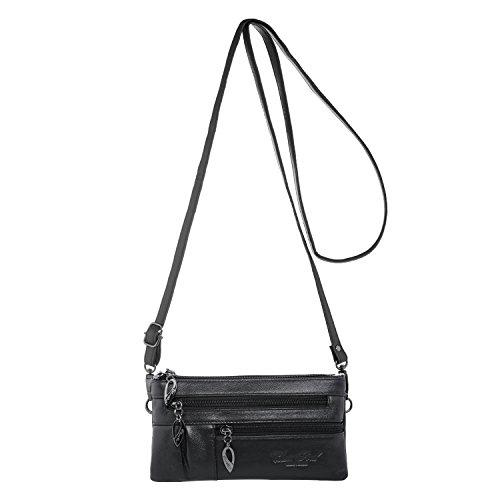 Schwarze Damen Schultertasche / Handtasche aus Leder