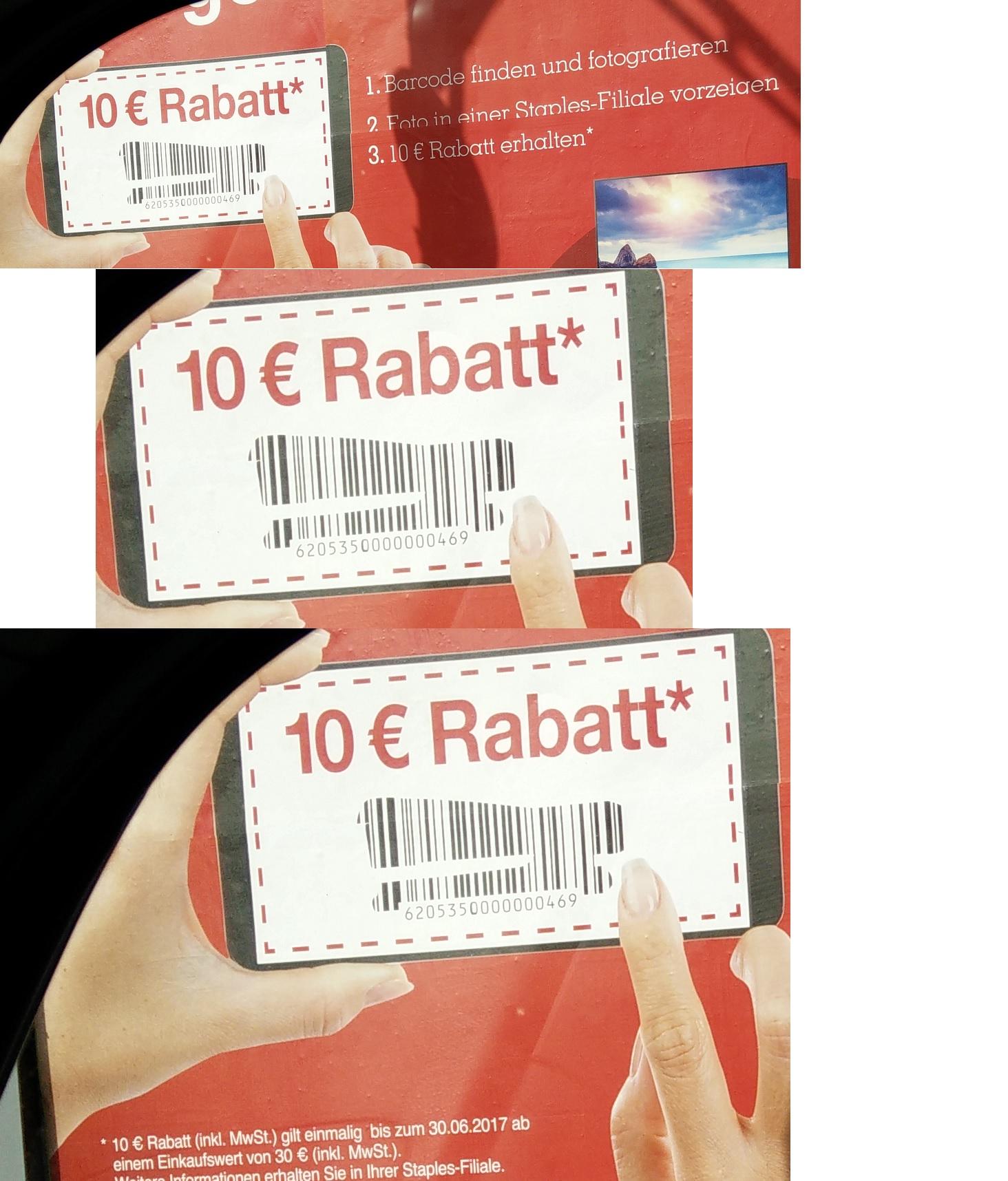 Staples offline : 10€ Rabatt bei 30€ Mindesteinkaufswert (gültig bis 30.6)
