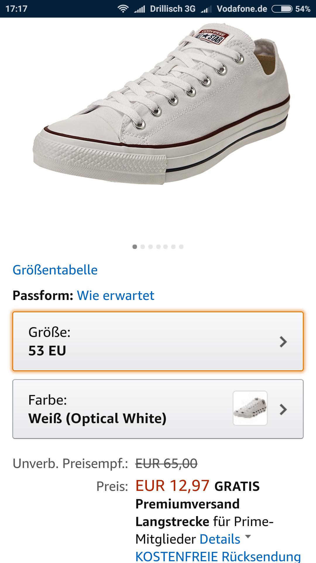 Amazon Prime Weisse Converse Chucks in Größe 53 für 12,97