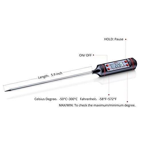 Habor Haushaltsthermometer Kochthermometer Küchenthermometer Einstichthermometer sofort lesen mit langer Sonde, Digital LCD Bildschirm