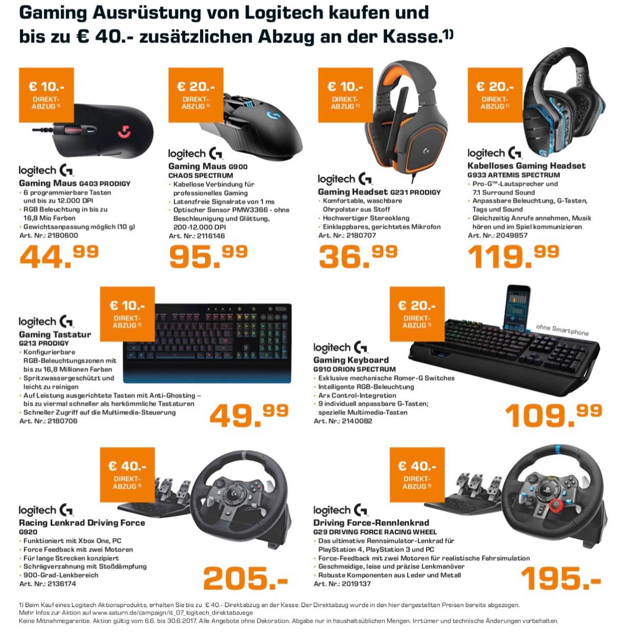 Logitech Gaming Zubehör bei Saturn mit Direktrabatt, z.B. G29, G910, G900, G933, G231