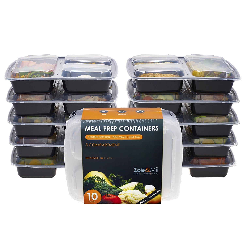 Für den Besuch bei Omi  [10er Pack] 3-Fach Meal Prep Container Set Mikrowellenfest Lock Dosen,Frischhaltedosen, Essen box Sets BPA-Frei