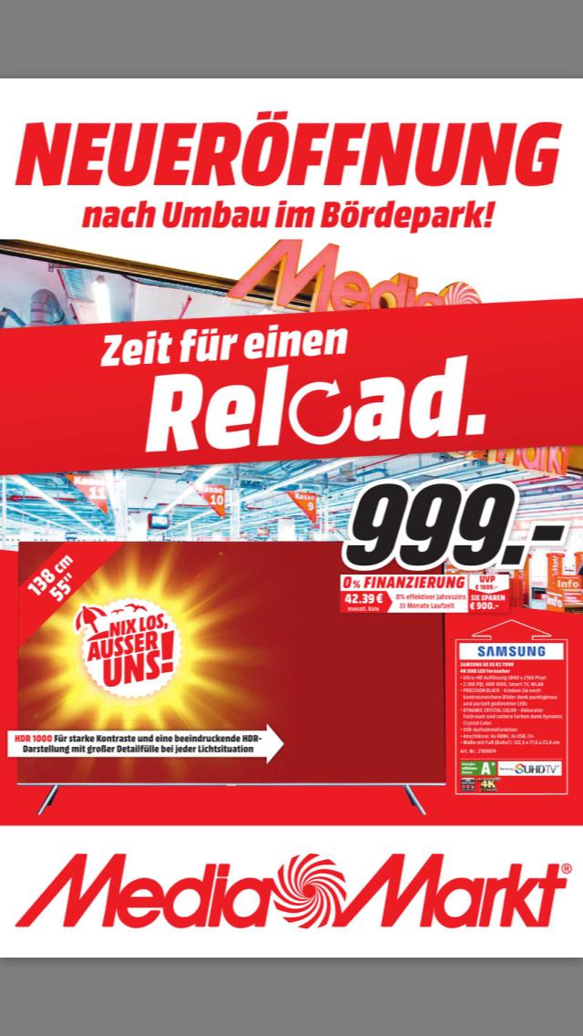 SAMSUNG UE 55 KS 7090 [MediaMarkt Magdeburg/Bördepark] 999€ gültig bis 9.6.17