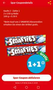 2 x 150g Riesenrolle Smarties - 2 für 1-Coupon in der App [Penny]