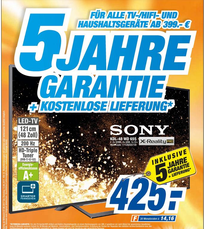 Sony KDL-48 WD655 Full HD TV inkl. 5 Jahre Garantie + Lieferung @ Octomedia Rastatt
