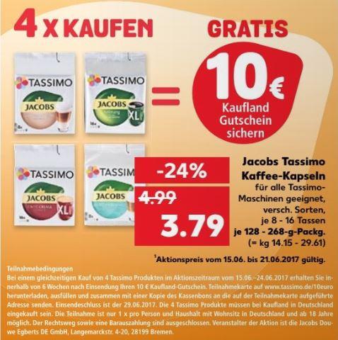 [Kaufland ab 15.06.] 4 Packungen Tassimo Kapseln kaufen, 10€ Kaufland Gutschein bekommen
