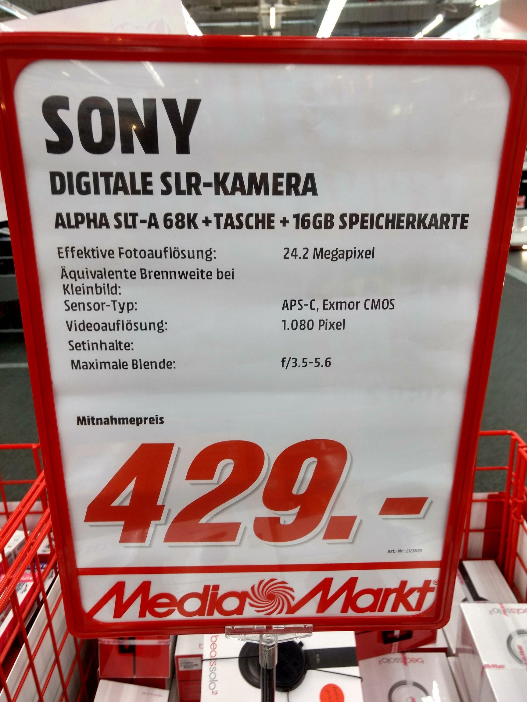 Sony A-68K mit Tasche und Speicherkarte, MediaMarkt Dortmund Indupark