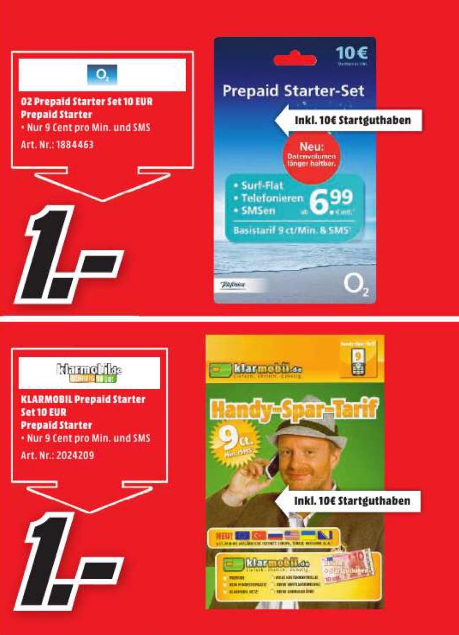 lokal MM Kaiserslautern - o2 / klarmobil Prepaid StarterSet inkl. 10€ Guthaben für je 1€