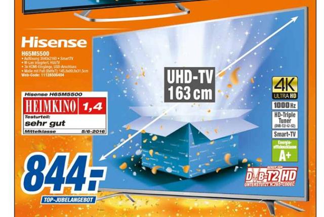 (Lokal Expert) Hisense H65M5500 163 cm (65 Zoll) Fernseher (Ultra HD, Triple Tuner, Smart TV)