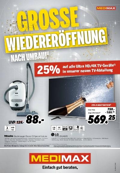25% UHD/4K TV  Rabatt + Bose Soundlink mini II für 139,-€ bei Medimax in Heinsberg