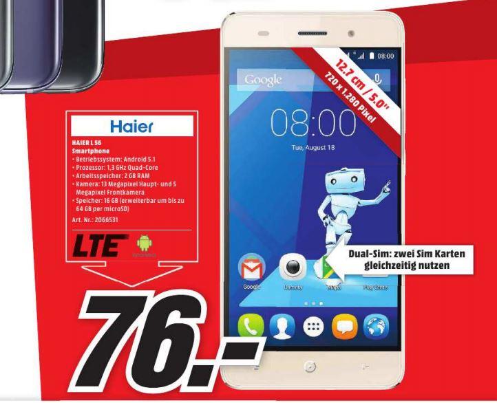 """[Lokal] MM Berlin und Brandenburg - Smartphone Haier L56 - 5"""" - 2GB - 16GB -  1280 x 720 Pixel"""