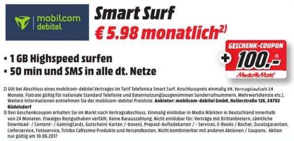 [MM Herzogenrath] MD o2 Smart Surf (1GB LTE | 50min | 50SMS) rechnerisch für 1,81€ / Monat (mit 100€ MM Gutschein)