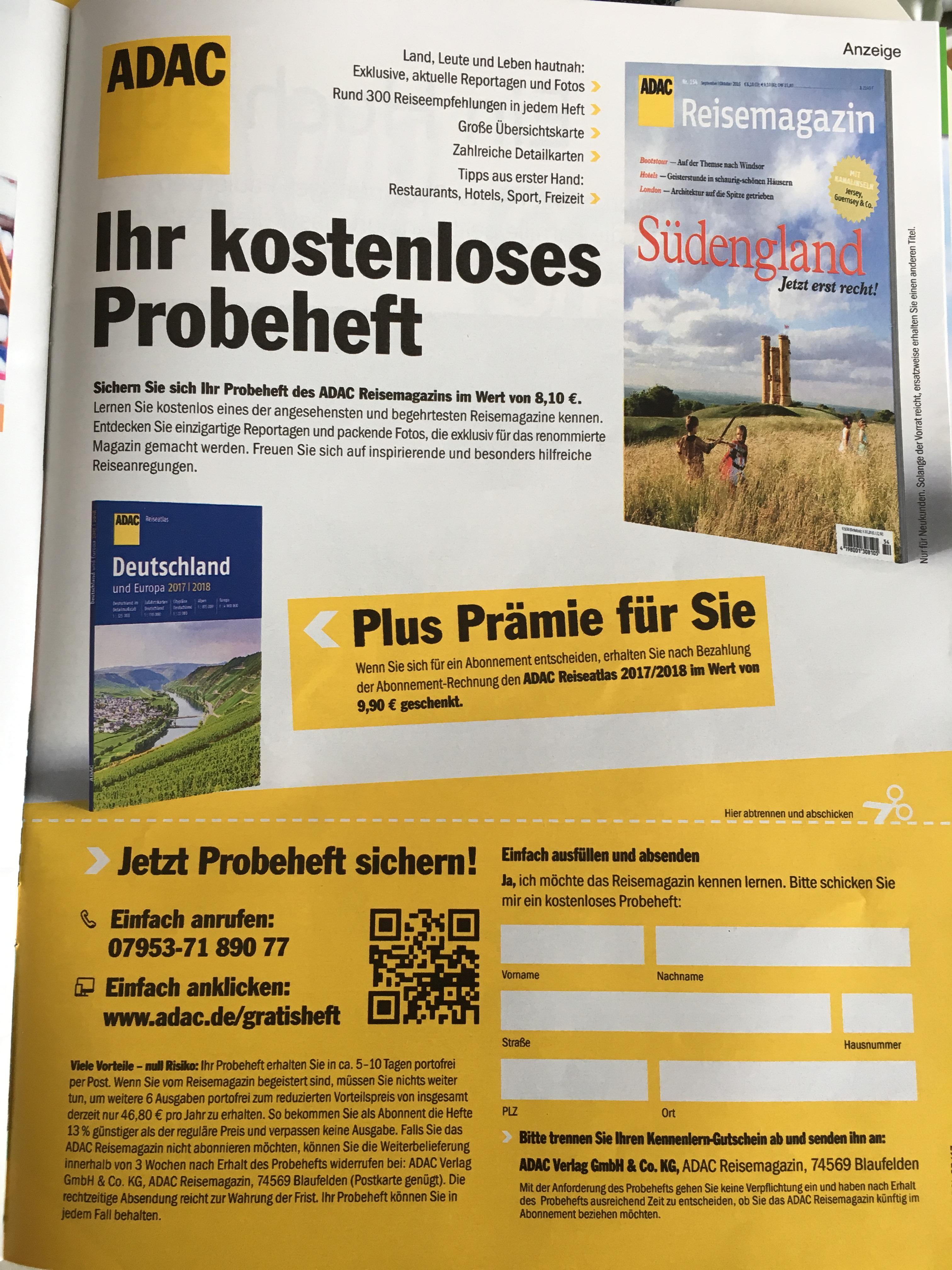 ADAC Reisemagazin Südengland gratis bestellen