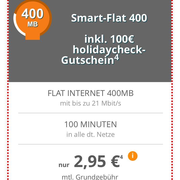Telekom-Netz mit 400MB Datenflat, 100 Freiminuten für 2,95 € oder Vodafone-Netz mit 1GB für 5,95 € + jeweils 100€ Holidaycheck Gutschein [Modeo]