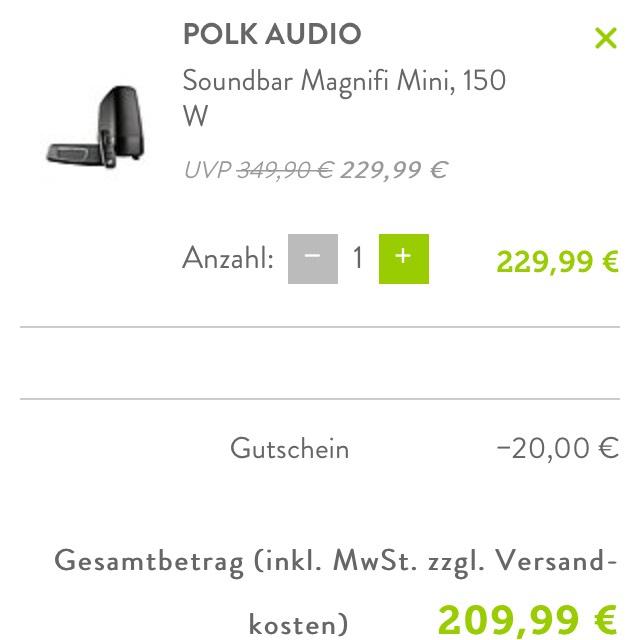 Polk Magnifi Mini Soundbar bei Brands4friends mit Gutschein nur 209,99€