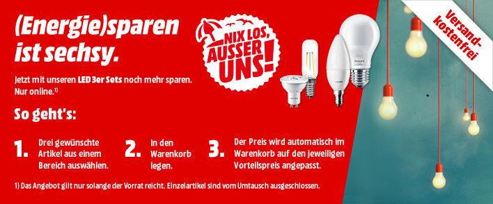 Media Markt Online vsk-frei: Reduzierte Philips LED Birnen / Leuchten zB 6x E14 5,5W 470lm für 12,66€ (VGP 24€) und 6x GU10 3,5W 240lm für 12,66€ (VGP 26€)
