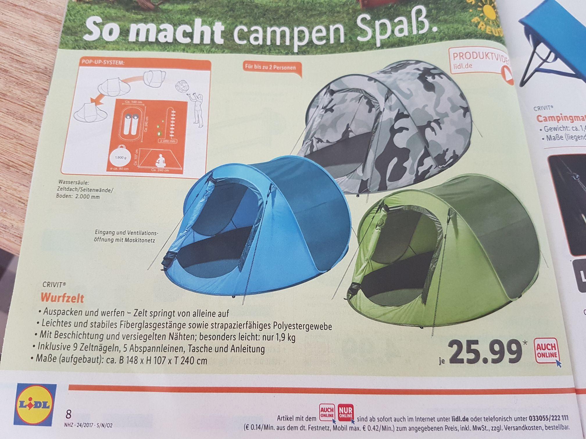 Lidl - Crivit Wurfzelt - drei Farben (auch offline ohne Versandkosten für 25,99€)