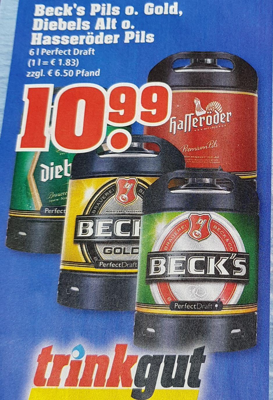 Perfect Draft Fässer 6l Beck's, Diebels, Hasseröder bei Trinkgut und Edeka Center Rhein-Ruhr für 10,99 Euro