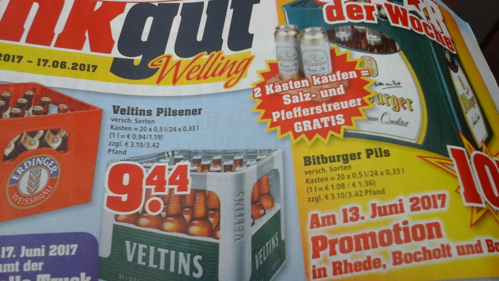 Trinkgut - Veltins 20x0,5 oder 24x0,33 Flaschen -ab 12.06 bis 17.06 -lokal?