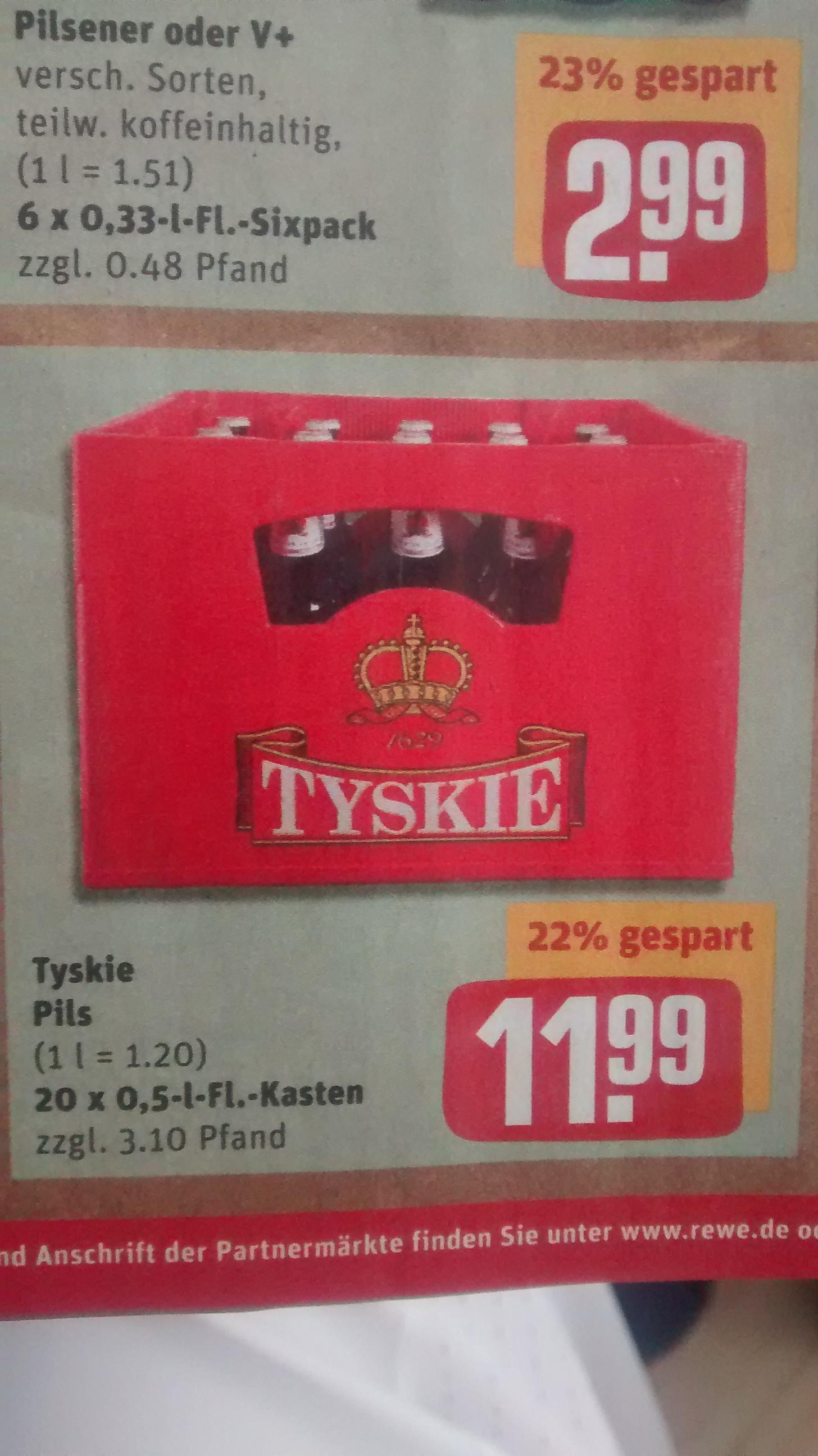 Kiste TYSKIE BIER @Rewe Markt 11,99€ / 1L = 1,20 Euro evtl. Retro-Tasche bei Tyskie-pils.de