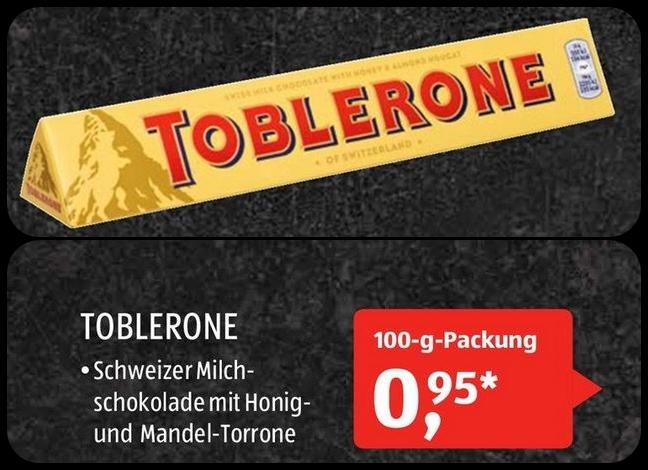 TOBLERONE (100g) für nur 0,95€ bei allen ALDI SÜD Filialen