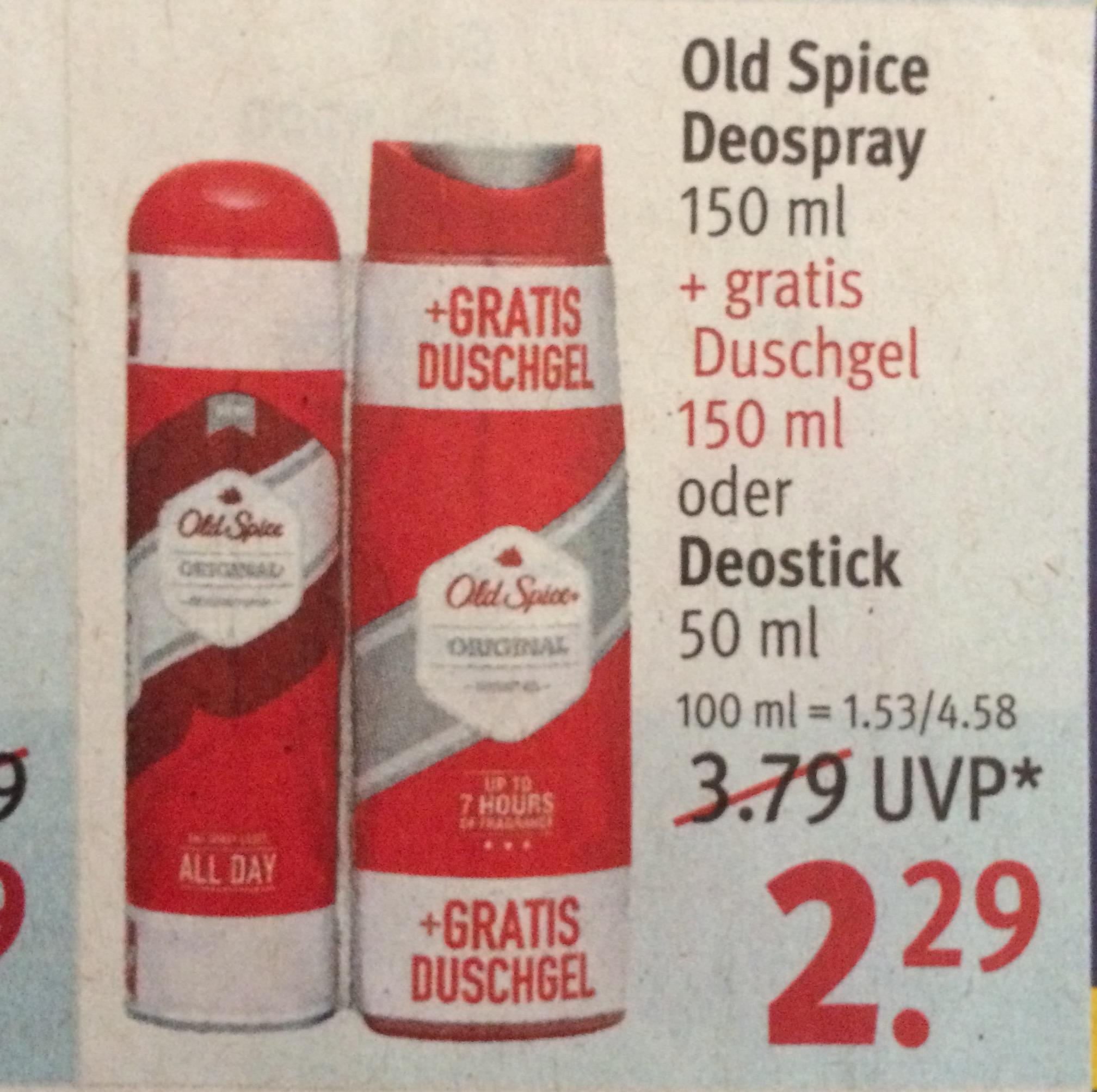 [Rossmann] Old Spice Set: Deospray + Duschgel zusammen nur 2,29€/2,06€ (mit 10% Gutschein)
