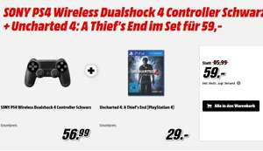 Sony PS4 Wireless Dualshock 4 (2016) Controller (Schwarz & Silber) + Uncharted 4: A Thief's End für je 59€ versandkostenfrei (Media Markt)