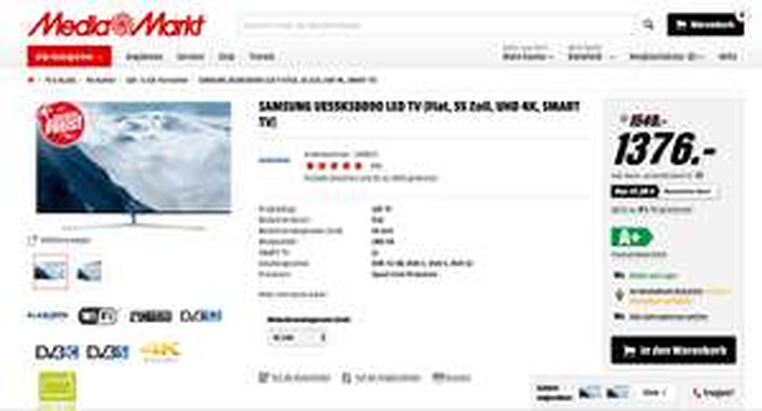 SAMSUNG UE55KS8090 LED TV (Media Markt Online) für 1.376€