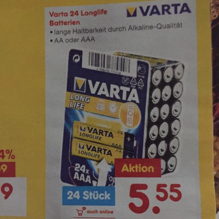 Netto (ohne Hund) Varta-Batterien 24 Stück 12.06-17.06
