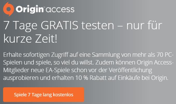 Origin Access Abo 1 Woche kostenlos testen