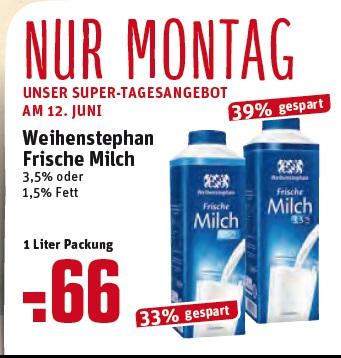 REWE: Weihenstephan frische Milch 1,5% o. 3,5% Fett am 12. 6. 2017 für 0,66€ / 1L