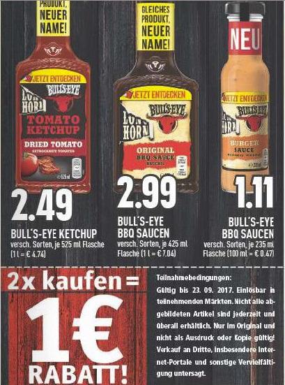 2* Bull's-Eye bzw. Longhorn 235ml Saucen für zusammen 1,22€ bei Edeka Rhein-Ruhr(nur in diesem Gebiet?)