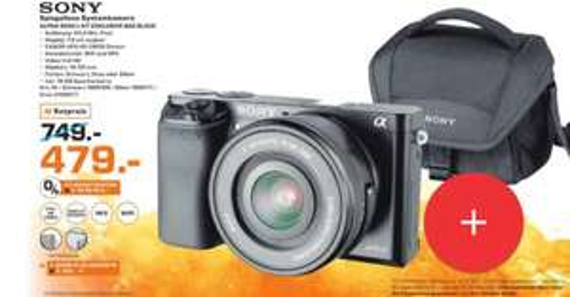 [Lokal Saturn Moers] Sony A6000 Systemkamera mit Kit-Objektiv +16 GB SD-Karte + Tasche