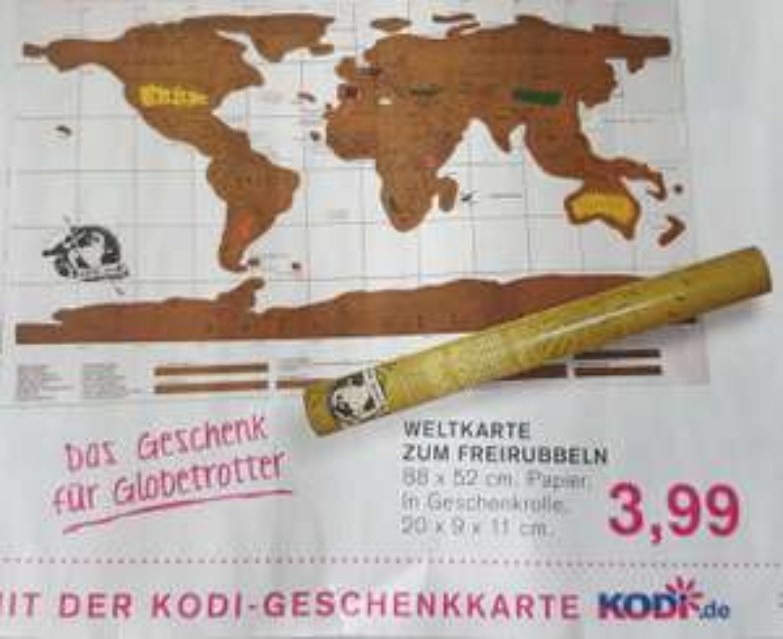 Weltkarte zum Freirubbeln 88x52cm für 3,99€ bei Kodi