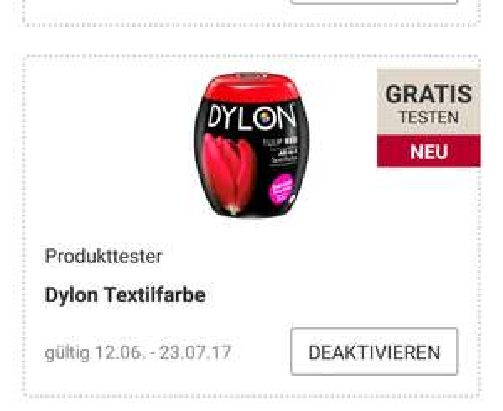 Rossmann App/ Gratis Dylon All-in-1 Textilfarbe