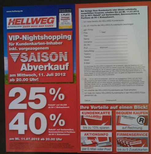 [lokal] Hellweg Gronau am 11. 7. ab 20 Uhr VIP-Nightshopping mit 25-40% Rabatt ab 50€