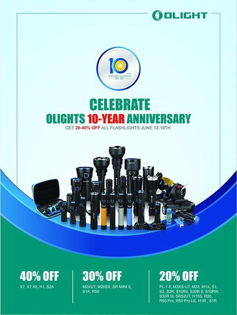 10 Jähriges Jubiläum: 20-40% Rabatt auf OLight Taschenlampen (eBay, Amazon, ..)
