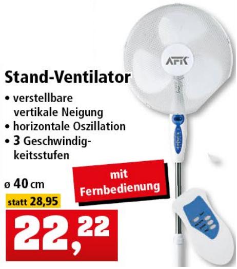 AFK Standventilator mit 3 Stufen und Fernbedienung für nur 22,22€ [THOMAS PHILIPPS]