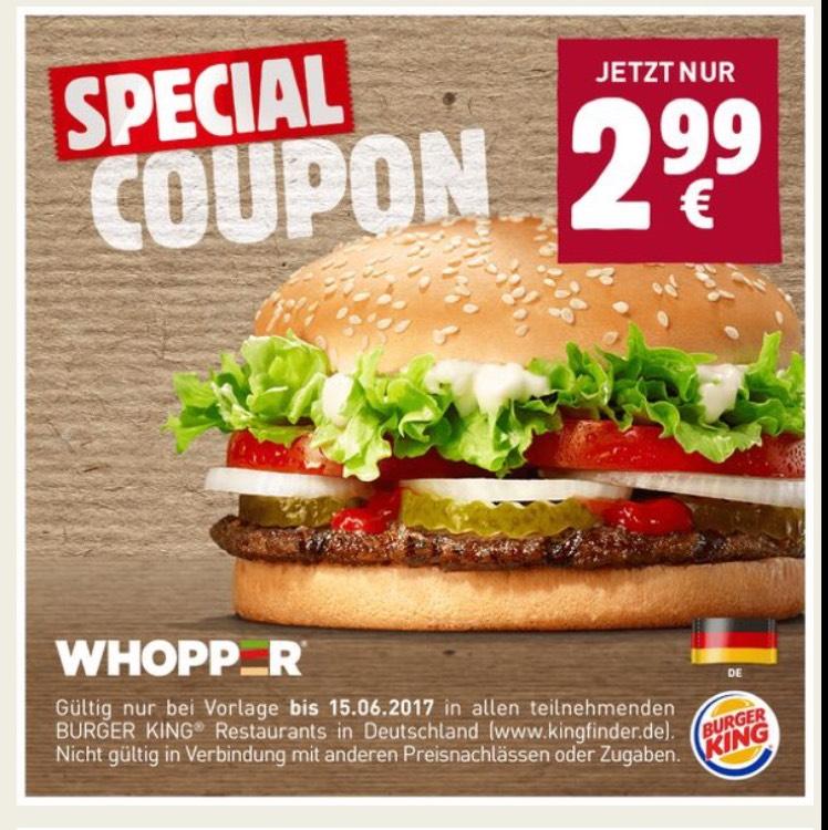 [Burger King] Whopper für nur 2,99€